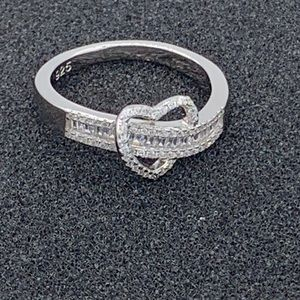 🎄Sterling Silver Clear CZ Heart Ring🎄 NWOT